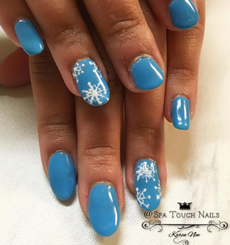 Nails with Blue Polish