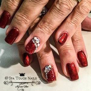 Swarovski Crystals on Red Nails