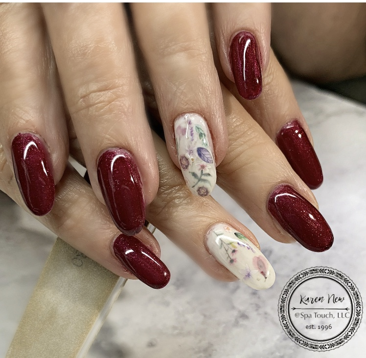 Burgundy and White Nails
