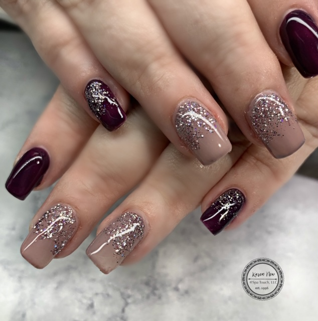 Dark Red and Mauve Nails